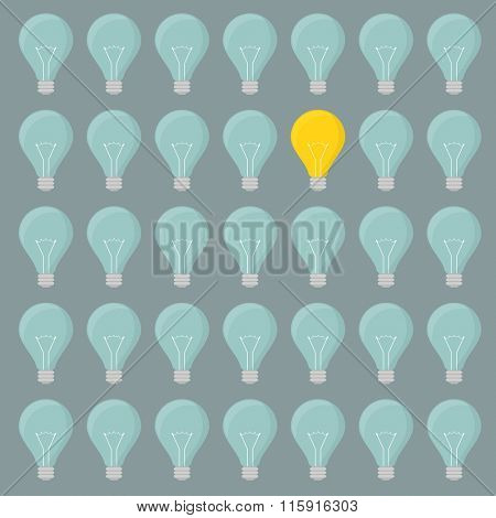 minimalistic illustration of a lightbulbs background with one illuminated lightbulb, eps10 vector