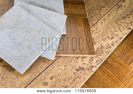 Flooring Sections Of Wood Cork And Tile