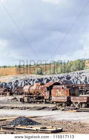 Old steam locomotive abandoned in Rio Tinto mine