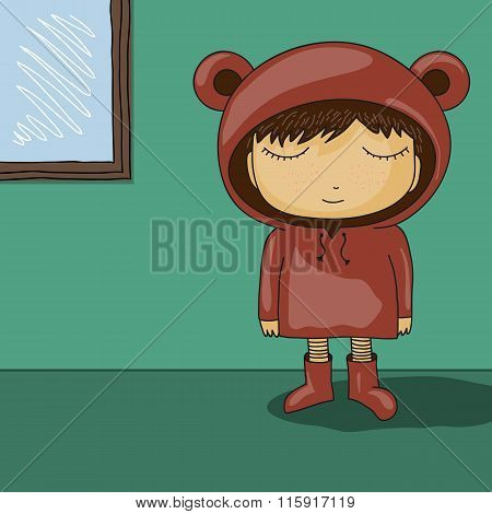 Cute Cartoon Kid With Bear Ear Hoodie