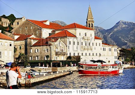 Tourist Boats In The Bay Of Kotor