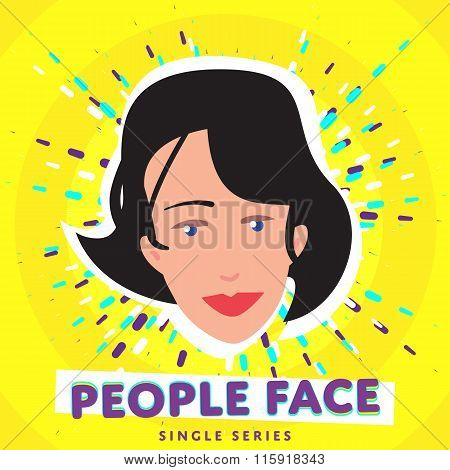 People face. Vector face icon. Face avatar. Fashion people. Flat design. People portrait. Face. Girl face. Female face. Adult face. Close up face. Human head. Human face on bright colorful background. Woman face.
