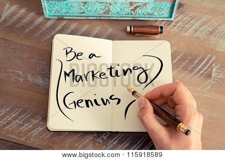 Handwritten Text Be A Marketing Genius