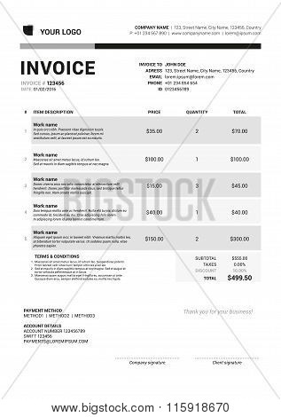 Vector Invoice Form Template Design. Vector Illustration. Grayscale Color