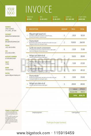 Vector Invoice Form Template Design. Vector Illustration. Green And Brown Color Theme