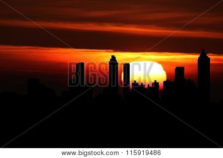 Atlanta skyline at sunset illustration