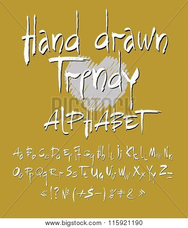 Vector Set Of Calligraphic Acrylic Or Ink Alphabet. Gold Background.