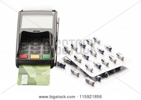 POS terminal, credit card and pill blister packs