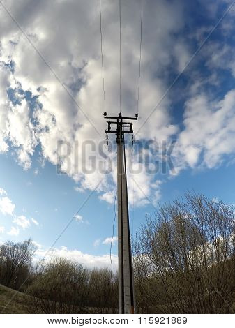 electric pillar in the field
