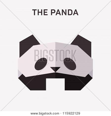 Panda Animals origami vector illustration flat logo Polygons