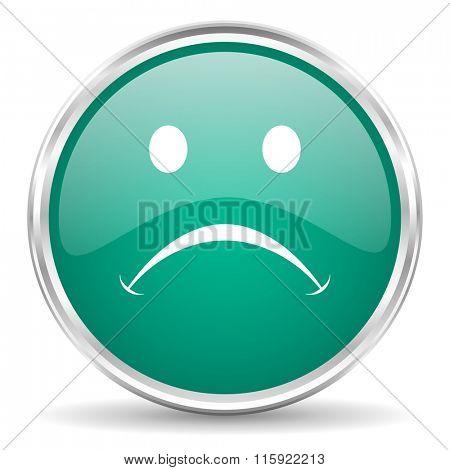 cry blue glossy circle web icon