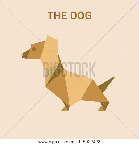 Dachshund Dog Basset Flat Origami vector illustration, low poly.