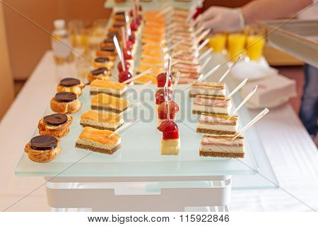 Different Types Of Canapes On Buffet Table