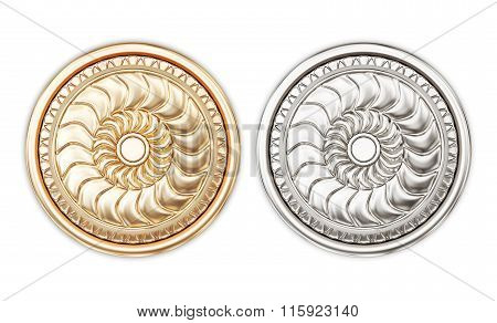 Round door handles isolated on white background. 3d rendering