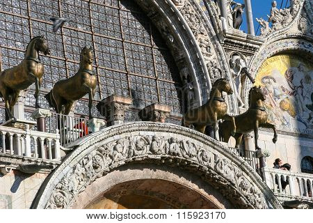 Architecture details of Saint Marks Basilica, Venice, Italy.