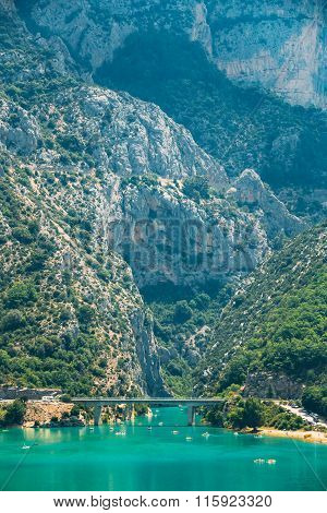 Bridge over the Lake of Sainte-Croix in France. Verdon Gorge