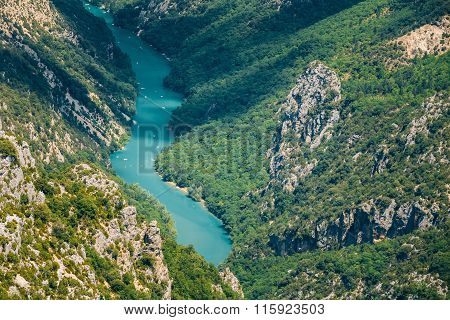 Beautiful landscape of the Verdon Gorge and river Le Verdon in s