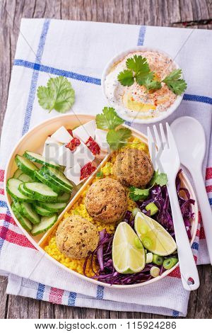 Box Lunch for a picnic or to office lunch with cous cous, falafel