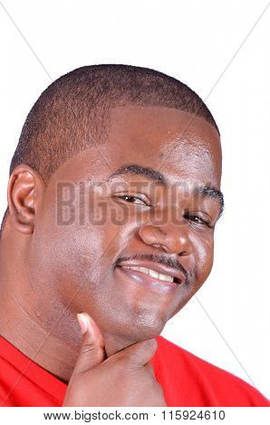 Closeup of a handsome smiling African American Man on a white background