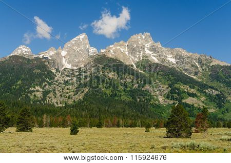 Panoramic view of the Teton range of Mountains in Wyoming