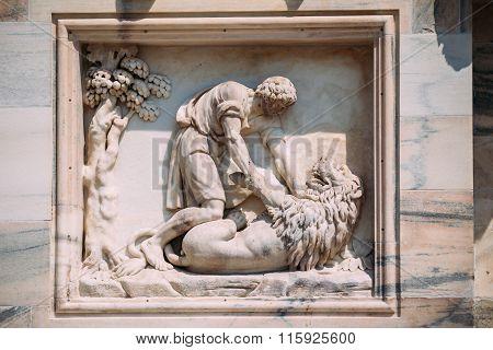 Detail of Milan Cathedral or Duomo di Milano in Milan, Italy. Cl