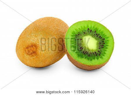 Juicy Kiwi Fruit Isolated On White Background.
