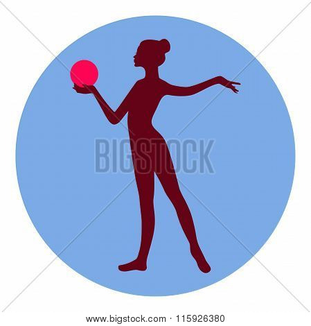 Silhouette of gymnastic girl with ball in ball