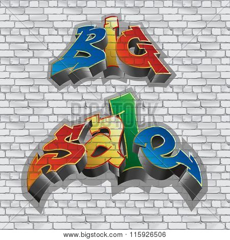 Big sale. Graffiti style. Sale inscription, urban art. Brick wall. gray. Vector