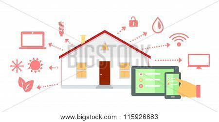 Smart House Concept Icon Flat Design