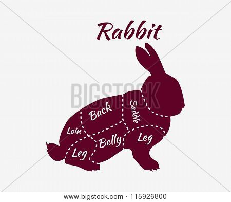 Typographic Rabbit Butcher Cuts Diagram