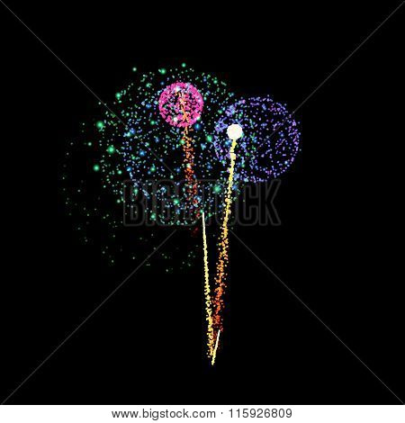 Firework- vector isolated on black background
