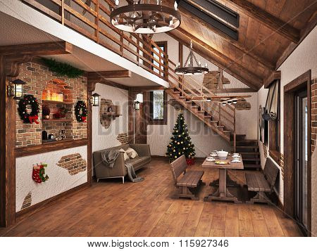 The interior of the Chalet 3d visualization