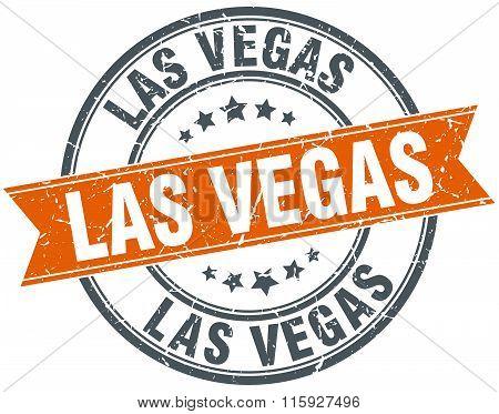 Las Vegas orange round grunge vintage ribbon stamp