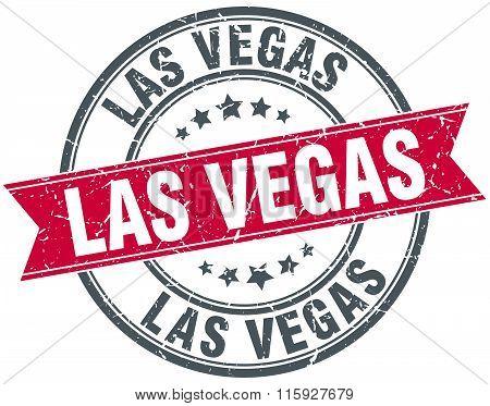 Las Vegas red round grunge vintage ribbon stamp