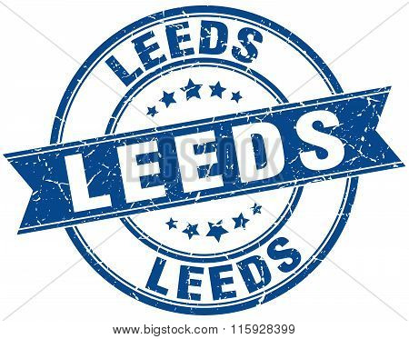 Leeds blue round grunge vintage ribbon stamp
