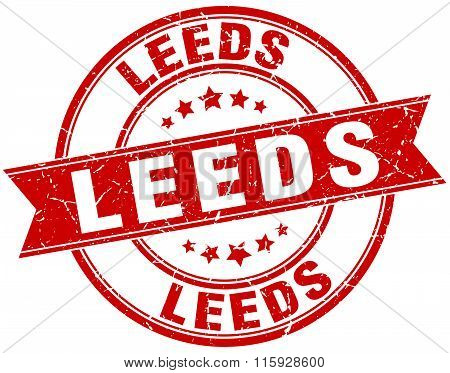 Leeds red round grunge vintage ribbon stamp