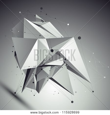 Abstract Asymmetric Vector Black And White Object With Lines Mesh Placed Over Shaded Background.
