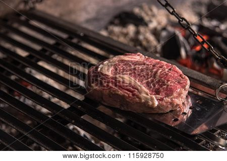Pork medallions roasted on a grill Argentina