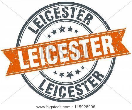 Leicester orange round grunge vintage ribbon stamp