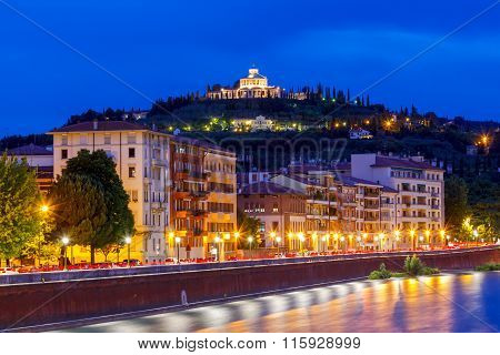 Verona. Adige river embankment at night.