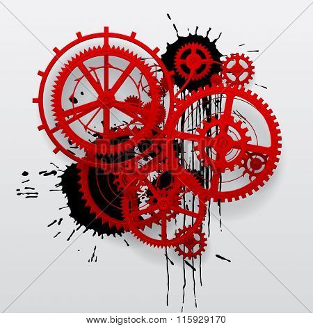 Red gear wheels of clockwork with black blots on white surface. Techno background. Contain the Clipping Path