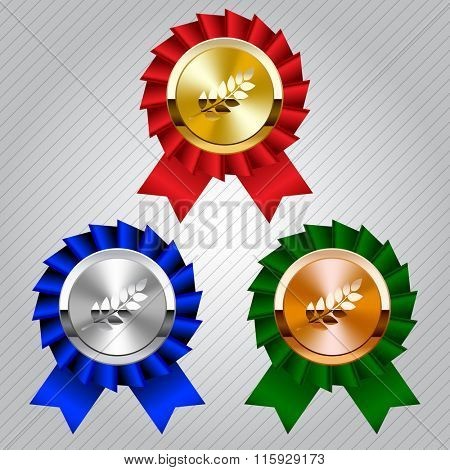 Gold, silver and bronze medals with laurel wreaths and ribbons. Contain the Clipping Path