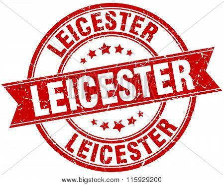 Leicester red round grunge vintage ribbon stamp