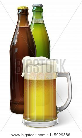 Mug with beer. Green bottle of beer. Brown bottle of beer. Vector