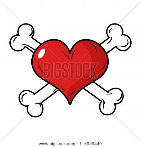 Heart And Crossbones Emblem For Valentines Day