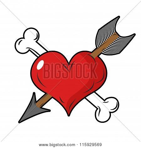 Heart And Arrow Symbol Of Love. Bone And Heart Symbol Of Death.
