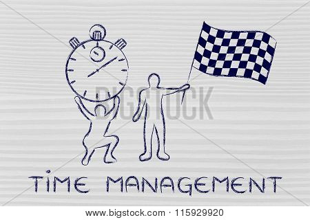 Men With Oversized Stopwatch & Chekered Flag, With Text Time Management