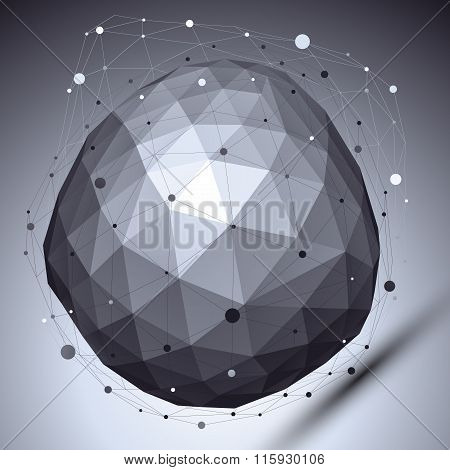 Vector Digital 3D Deformed Abstract Object, Lattice Geometric Cybernetic Template, Perspective Wiref