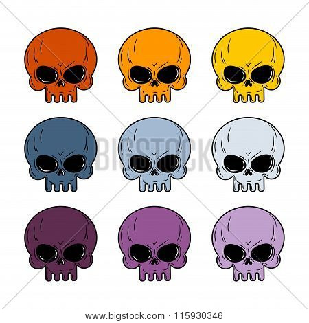 Set of 9 Colored Skulls