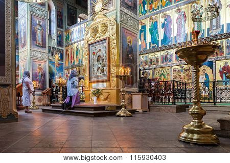 Orthodox Christians Inside The Assumption Cathedral Of The Valdai Iversky Monastery, Russia
